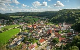 Обои облака, деревья, холмы, поля, дома, Германия, Бавария