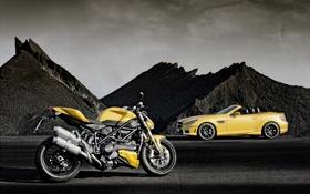 Обои and, мерседес, вид сбоку, SLK55, слк, суперкар, bike
