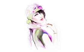 Обои взгляд, браслет, платок, Tatiana Nikitina, нарисованная девушка, Татьяна Никитина