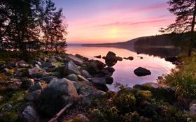 Обои лес, закат, озеро, камни, спокойствие, by Robin de Blanche, Asleep