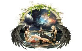 Обои небеса, Девушки, меч, ангелы, арка