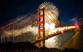 Обои ночь, мост, город, праздник