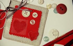 Обои фон, обои, лента, бантик, разное, серце, сердечко. красный
