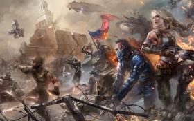 Картинка Homefront: The Revolution, девушка, мужчина, город, руины, солдаты, арт