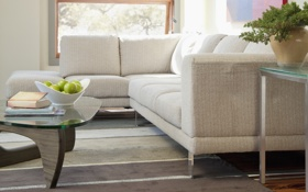 Обои дизайн, комната, диван, яблоки, интерьер