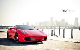 Обои 360 three sixty forged, небоскрёбы, Ferrari, F430, передняя часть, мост, феррари