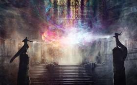 Картинка магия, арт, лестница, витражи, помещение