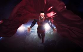 Обои космос, земля, планета, орбита, superman, DC Comics, Clark Kent
