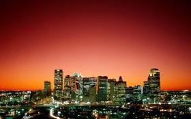 Картинка закат, город, вечер, высотки, техас, Dallas