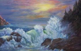 Обои волны, небо, брызги, океан, краски, арт, Jean Powers