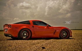 Обои красный, Z06, Corvette, Chevrolet, red, шевроле, корвет