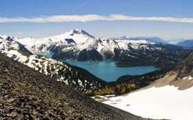 Картинка снег, горы, природа, озеро, камни