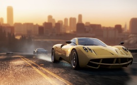 Картинка Вечер, Игра, Гонка, Машины, Ford GT, Race, Bugatti Veyron