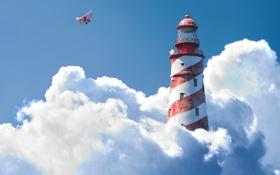 Картинка небо, облака, самолет, маяк