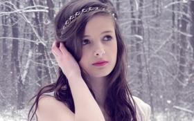 Картинка Зима, Девушка, Взгляд, Снег, Лес, Губы, Красные