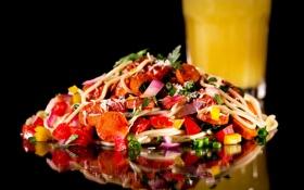 Обои перец, помидор, морковь, салат, макароны, lettuce
