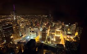 Картинка ночь, город, здания, небоскребы, Чикаго, USA, США