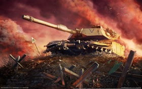 Картинка облака, закат, война, кресты, дым, танк, war