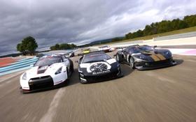 Картинка трасса, nissan, гонки, GT-R, DB9, lamborghini, maserati