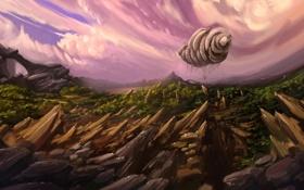 Обои арт, скалы, дирижабль, облака