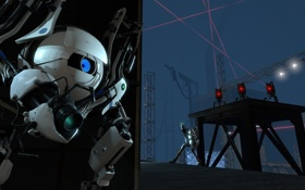 Обои Portal 2, турели, прикрытие, боты