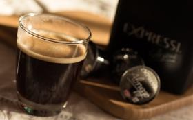 Картинка пена, стакан, кофе, доска, напиток, пачка, капсулы