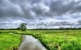 Обои Nature, Clouds, Netherlands, Forest, Stream, Drenthe, Assen