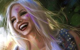 Обои девушка, улыбка, настроение, смех, арт, блондинка