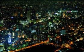 Обои свет, ночь, огни, здания, дома, небоскребы, Япония