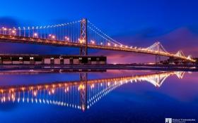 Обои ночь, Сан-Франциско, мост, отражение, Kenji Yamamura, photographer, огни