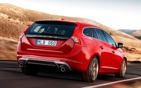 Картинка спорт, Volvo, вид сзади, универсал, V60, R-design