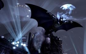 Картинка ночь, город, огни, дым, крылья, бэтмен, маска