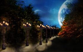 Картинка сумрак, Фонари, небо, дорога, ночь, осень