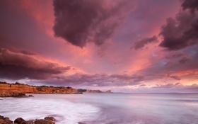 Картинка песок, пляж, пейзаж, закат, океан, скалы, берег