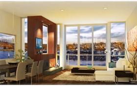 Обои дизайн, жилое пространство, дом, мегаполис, интерьер, стиль