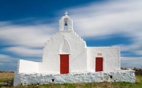 Обои небо, облака, Греция, церковь