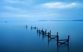 Картинка пейзаж, озеро, сети