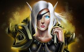 Обои World of Warcraft, повязка, WoW, доспехи, эльфийка, шрам