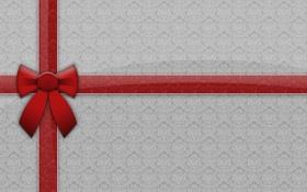 Обои праздник, новый год, текстура, лента, new year, красная, бантик