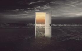 Обои песок, море, ночь, креатив, дверь, день, прибой