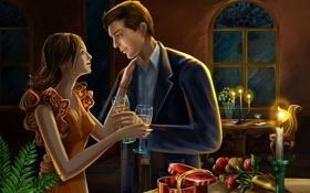 Обои девушка, цветы, романтика, встреча, свечи, арт, мужчина