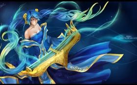 Картинка девушка, волосы, платье, League of Legends, Sona