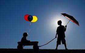 Обои дети, настроение, шары, зонт, силуэты