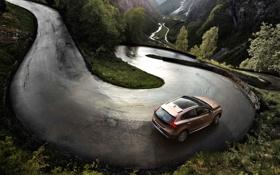 Обои Дорога, Volvo, Машина, Асфальт, Внедорожник, V40, В Движении