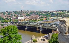 Картинка мост, город, река, фото, Англия, сверху, Rochester