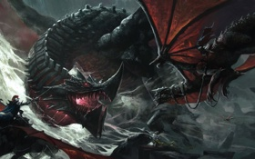 Картинка драконы, бой, арт, маг, битва, схватка