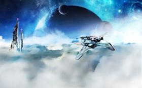 Обои облака, звезды, космос, планеты, самолет