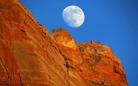 Картинка небо, скала, гора, Луна, полнолуние