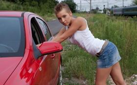 Картинка поезд, Opel, Karry, трава, авто