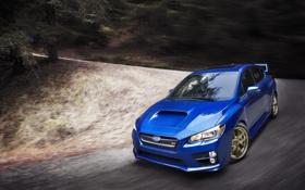 Обои Авто, Синий, Subaru, Машина, Поворот, Капот, WRX
